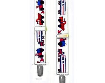 """Kids Suspenders - TRUCKS - 3 Sizes for Better Fit - 1"""" Width Elastic"""