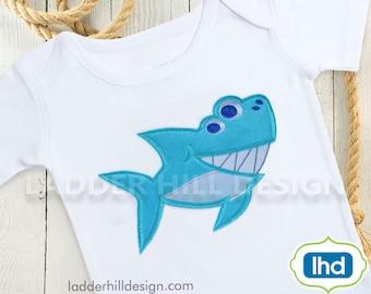 Shark Applique Embroidery Design - Smiling Shark Applique Summer Machine Embroidery Design WA031