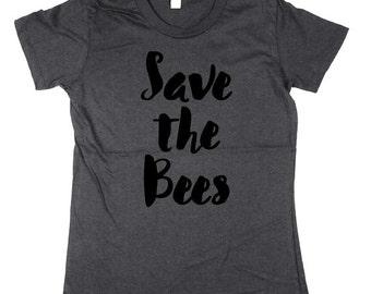 Womens Save the Bees T-shirt - bumble bee, honey bee, organic cotton Shirt, womens, ladies, Moss, Brown, Navy, Small, Medium, Large, XL, 2XL