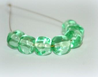 SRA Handmade Lampwork Beads, (7) pale green,  Organic shaped transparent mint  Bead Set Handsculpted Set, Nuggets,  10x11mm