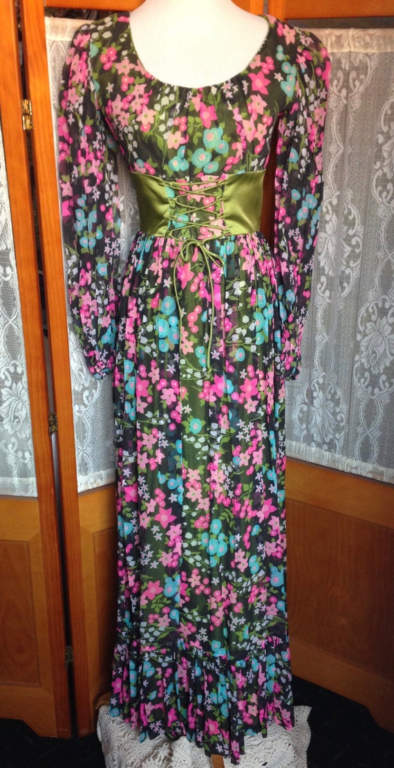 SALE! Vintage Boho Black Sheer Floral Long Dress with Green Satin Corset Waist Long Sleeve Size Small