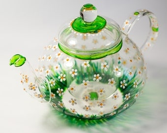 Glass Teapot with Infuser, Tea kettle Floral tea pot, Daisies teapot for women Hostess gift