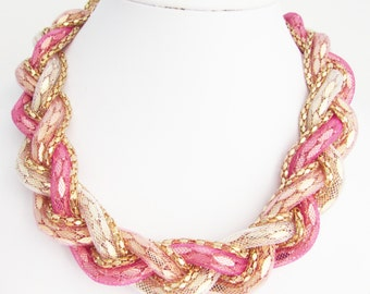Plaited Fabric and Chain Necklace, Pink and Champagne Necklace, Braided Necklace, Fabric Necklace, Plait Necklace, Pink Fabric necklace