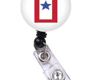 Blue Star ID Badge Nurse Retractable Badge Reels/ ID Badge Holder