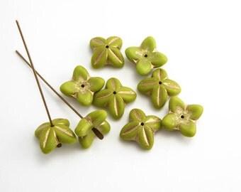 16x6mm Olive Green Bell Flower Czech Glass Beads, (6pcs)  Green Flower Beads, Bell Flower Beads, Olive Flower Beads FLW0366