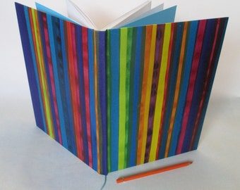 A4 recycled white paper journal multi coloured stripes