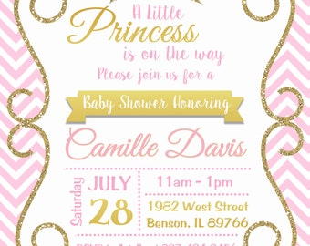 Pink and Gold Princess Baby Shower Invitation, Sparkle, Chevron, Girl Baby Shower, Gold Glitter invitation, Printable or Printed