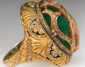 Antique Emerald Cameo Victorian 18K Yellow Gold Cocktail Ring ELE11008