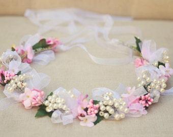 THE RINA Bridal Ribbon Crystal Wedding Crown Hair Jewelry Crystals Bridal Hairstyle Hair Accessory Boho Head Piece Crown Tiara Flower Girl