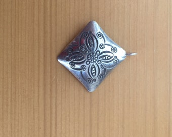 Thai Hill Tribes Silver Pendant, stamped Flower,large diamond shape 29 mm - price per each
