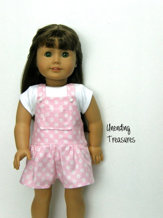 18 inch doll clothes pink floral shortalls and white short sleeve t-shirt made to fit like American Girl doll clothes