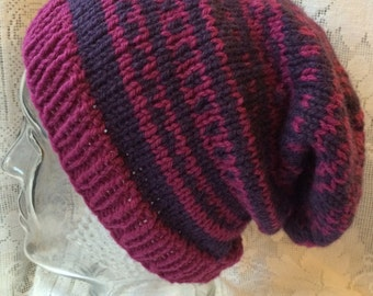 Fuschia Fair Isle Slouchy Knitted Hat