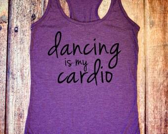 Dance Tank Top - Dancing is My Cardio - Purple Racerback Tank