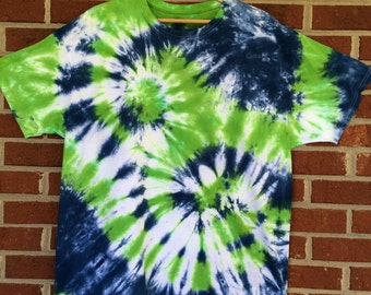 Greens and Blue Double Spiral Tie Dye XL Crew Neck Tee Shirt