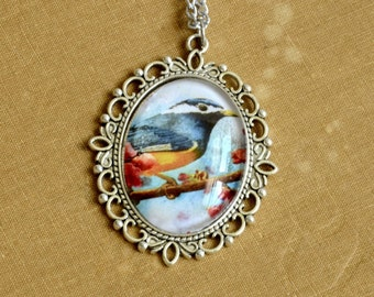 Blue Bird in Pink Pendant, Wearable Art