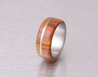 mens wedding band wood ring titanium ring band Cocobolo ring