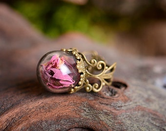 Rose ring, nature ring, pink rose ring, adjustable ring, statement ring, antique brass ring, nature jewelry, filigree ring