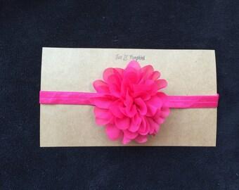 Pink Flower Headband, Pink Chiffon Flower Headband, Pink Toddler Headband, Pink Baby Girl Headband, Baby Girl Gift, Photo Prop, Hot Pink