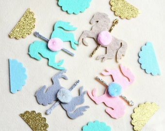 ADD ON: Pair of Two Felt Glitter Carousel Horse Embellishmets with Pom Poms / Custom Colors  /  Does NOT Include Banner