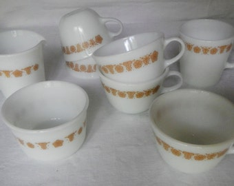 Vintage Lot 8 Pyrex Butterfly Gold Milk Glass 5 Cup Sugar Creamer Mug Coffee Tea 10 Ounces Microwave Safe Corning NY USA Retro Kitchen