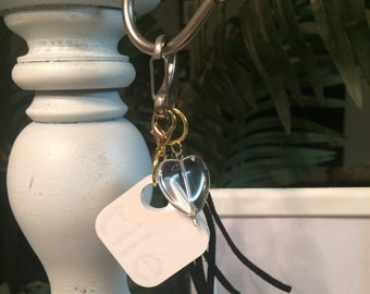 TILE tracker with tassel keychain clip