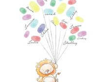 Baby Shower Fingerprint Balloons  - Animal Baby Shower Print - Baby Shower Keepsake - Baby Shower Activity - Animal Nursery Art