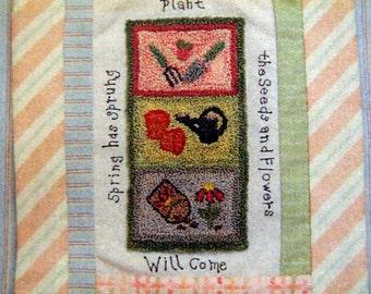 Spring Pieces By Susan Davis And Aunt Susie's House Punch Needle Embroidery Pattern Kit 2006