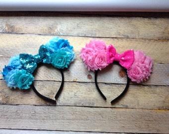 Pink-Blue flowers shabby chic Spring headband-mouse ears-new-