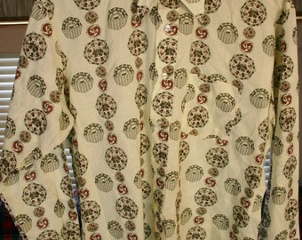 Dead Stock 1970's Hippy Disco Poly Cotton Dress Shirt Huge Collars, Vintage Size Large Tag 16-16.5 Outstanding Look!