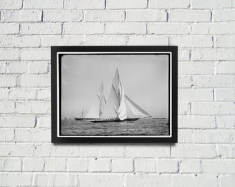 FRAMED Sailing Photography Black and White Americas Cup Vintage Framed Art, Sailing Art, Office Art, Living Room Art, Historical Print (102)