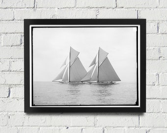 FRAMED Sailing Photography Black and White Americas Cup Vintage Framed Art, Sailing Art, Office Art, Living Room Art, Historical Print (106)