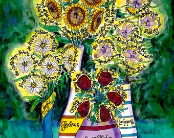Rosary Bouquet with All 20 Mysteries and Fruit of each, hand-drawn, Catholic, 8x10 11x14 art print, sunflowers, daisies, lilies, roses