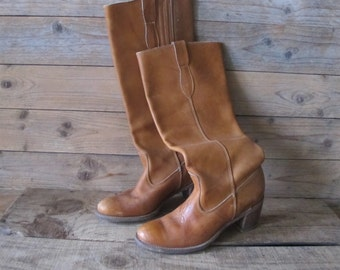 Vintage 70s Made in USA bohemian tan leather riding campus Boots Women 6.5 N