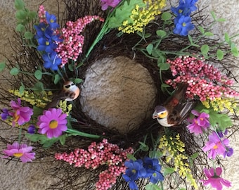 Twig Wreath, Door Decor, Spring Wreath, Spring Twig Wreath, Flower Wreath, Round Wreath, Door Wreath (SKU Spring 106)