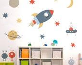 Wall Sticker Space Set - Wall Stickers - Wall Decoration - Wall Art - Wall Tattoo - Home decor - Wall Decor - Space - Rocket - Child