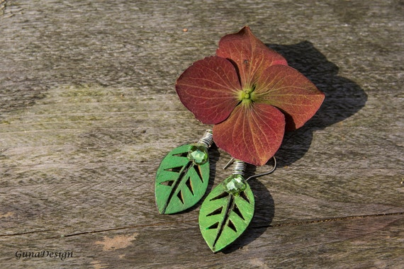 Wooden Hand Painted Dangle Leave Earrings with Beads
