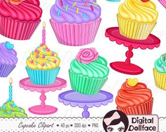 Cupcake Clipart, Dessert Bakery / Cupcake Party Clip Art, Scrapbook Clipart