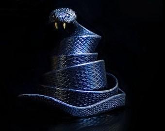 ADDER belt, Black..... snake, buckle