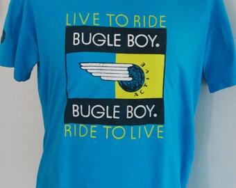 "90's Bugle Boy ""Ride To Live"" T-Shirt Size Medium"