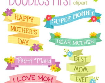 Mother's Day Ribbons Digital Clip Art for Scrapbooking Card Making Cupcake Toppers Paper Crafts