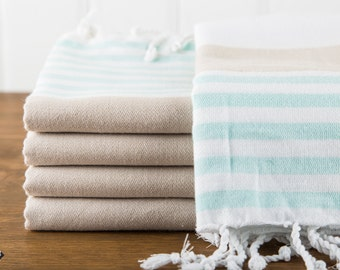 S A L E, Nautical Turkish Towel, Mint and Beige, Peshtemal, Beach Towel, Hammam Towel
