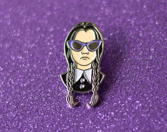 Wednesday Addams Enamel Pin, Lapel Pin, Cool Pins, Halloween Pin, The Addams Family Pin, Goth ...