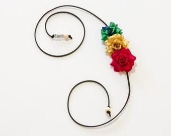 Rasta Rose Side Flower Crown, Flower Headband, Rasta Headband, Rasta Clothing, Festival Headband, Hippie Headband, Rave Headband, Rave Wear
