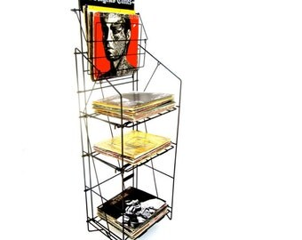 Awesome 5 Foot Industrial Steel L.A. Times Magazine/Record Rack