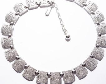 Vintage Trifari Collar Necklace Silver Tone