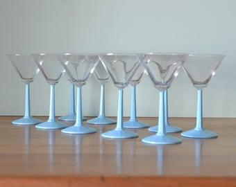 Vintage Martini glasses baby blue glass x 10