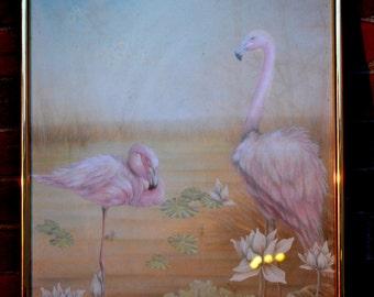 Flamingo print framed vintage pink pastel