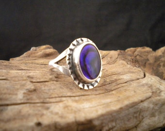Size 6.5 Purple Paua Shell Ring Statement Ring Handcrafted Signed Piece