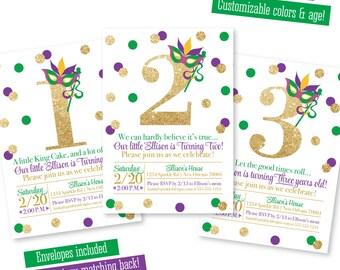 Mardi Gras Birthday Invitation - Purple Green Gold Glitter 1st 2nd 3rd 4th 5th 6th 7th 8th 9th Birthday Invites, New Orleans Birthday Party