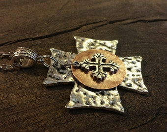 Cross Necklace, Hammered Metal Necklace, Boho Necklace, Silver Necklace, Rustic Necklace, Silver and Copper Necklace